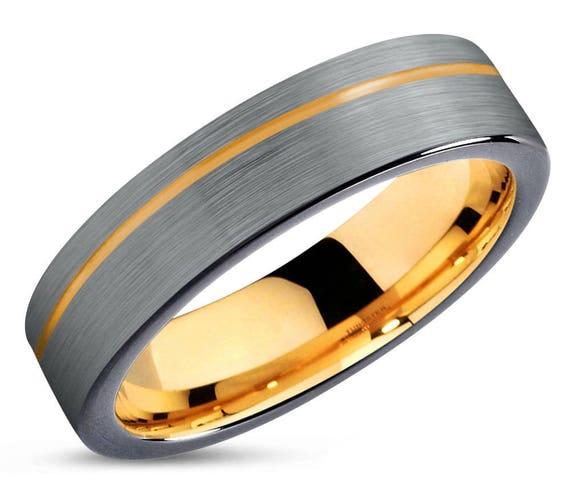 Mens Wedding Band Wedding Ring Yellow Gold 18k Tungsten Ring Etsy