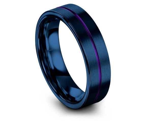 Blue Tungsten Ring | Ring for Women | Tungsten Carbide Ring | Center Line Engraving | Flat Cut Comfort Fit | Purple Tungsten Band | Ring Set