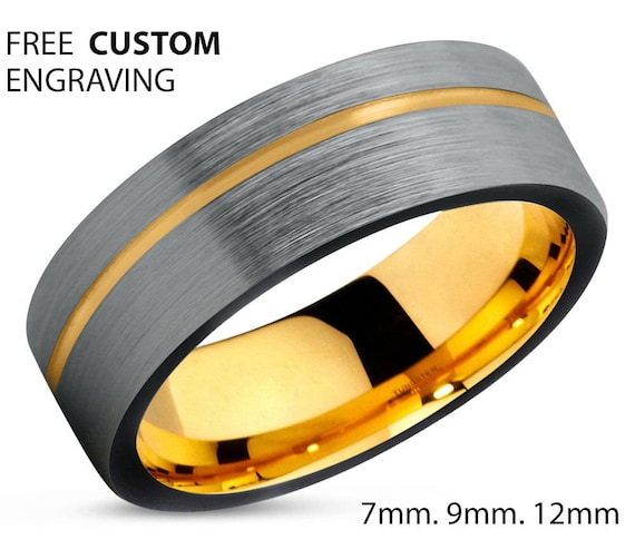 Brushed Silver Black Tungsten Ring Yellow Gold Wedding Band Ring Tungsten Carbide 9mm 18K Tungsten Ring Man Male Women Anniversary Matching