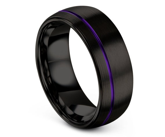 Black Tungsten Ring Men Domed,Purple Engravable Ring,Tungsten Engagement Ring,Promise Ring For Him,Handmade Jewelry Rings,Free Fast Shipping