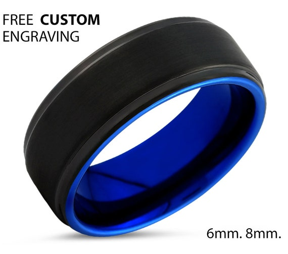 Unique Black and Blue Tungsten Step-Beveled Ring with Free Personalized Engraving Available in 6mm or 8mm