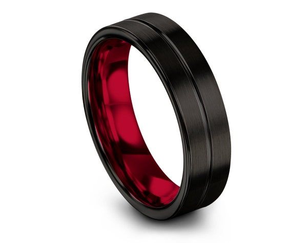 Wedding Gifts, Flat Tungsten Carbide Wedding Band Red, Center Engraving Band, Tungsten Band For Men, Promise Ring, Anniversary Matching Band