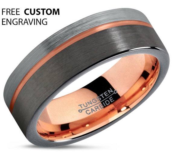 GUNMETAL Tungsten Ring, Mens Wedding Band, Rose Gold Ring 18K 7mm, Wedding Ring, Engagement Ring, Promise Ring, Rings for Men, Gold Ring