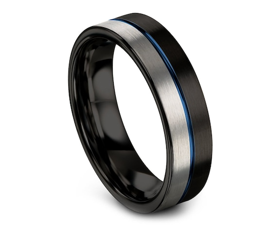 Black Silver Tungsten Ring, Mens Wedding Band Blue, Halfway Tungsten Band, Tungsten Carbide Band, Center Line Engraving, Flat Comfort Fit