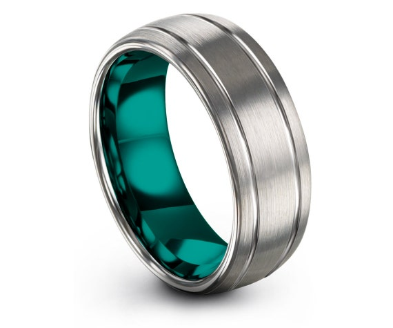 Mens Silver Ring Domed,Brushed Polished Tungsten Ring,Silver and Teal,Engraved Band,Personalize Ring,Minimalist Jewelry,All Size Available