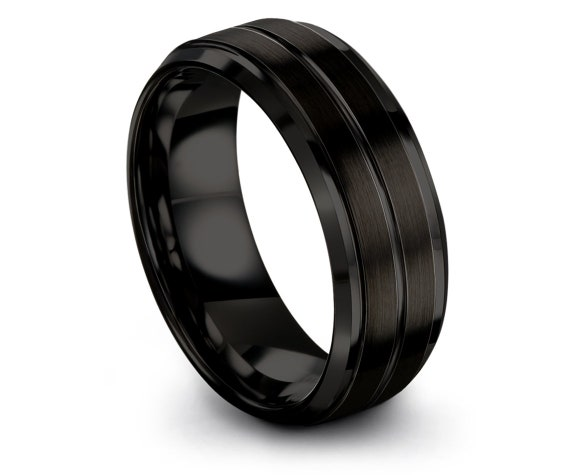 Personalized Gift For Papa, Matching Wedding Band, Mens Wedding Band, Center Line Engraving, Wedding Band Tungsten, Engagement Ring Sets