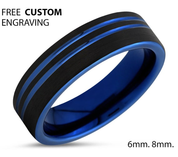 Double Blue Line Wedding Band Ring 6mm 8mm Width Mens Women Unisex His Her Gift Idea Free Shipping Custom Engraving Jewelry Anniversary