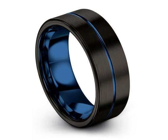 Mens Wedding Band Blue, Tungsten Ring Black 7mm, Wedding Ring, Engagement Ring, Promise Ring, Personalized, Rings for Men, Mens Ring