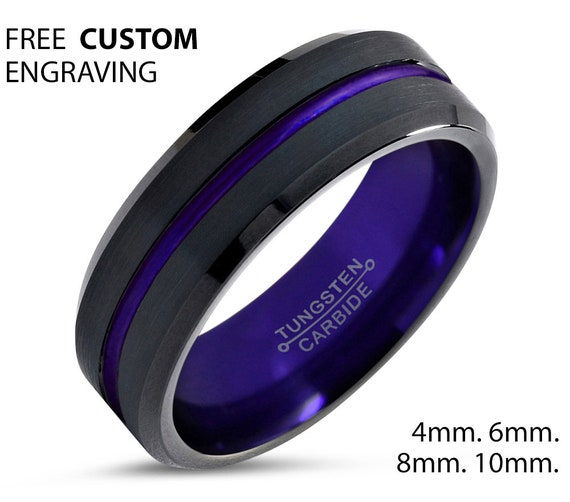 Unisex Purple Wedding Band, Black Tungsten Ring 4mm, Wedding Ring, Engagement Ring, Promise Ring, Personalized, Gift for Him, Gift for Her