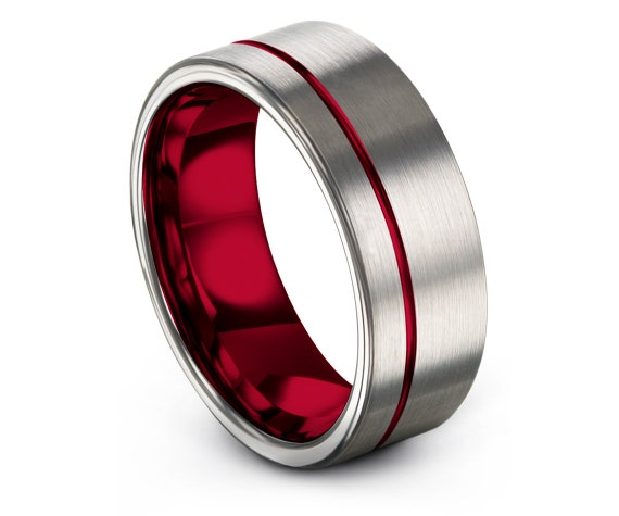 8MM Tungsten Wedding Ring Set Mens | Offset Engraving with Thin Line Red | Engagement Ring | Promise Ring | Mens Rings | Personalized Gifts