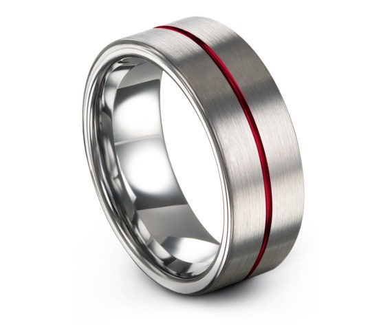 Mens Tungsten Band Grey,Silver Wedding Ring,Engagement Ring,Mens Gift,Promise Ring,Center Line Engraving Red,Personalized Ring,Gifts for Him