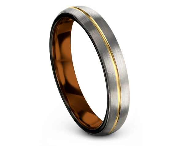 Domed Tungsten Wedding Band | Tungsten Engagement Ring | Tungsten Ring 6mm | Thin Gold Line Band | Promise Ring | Fast Shipping