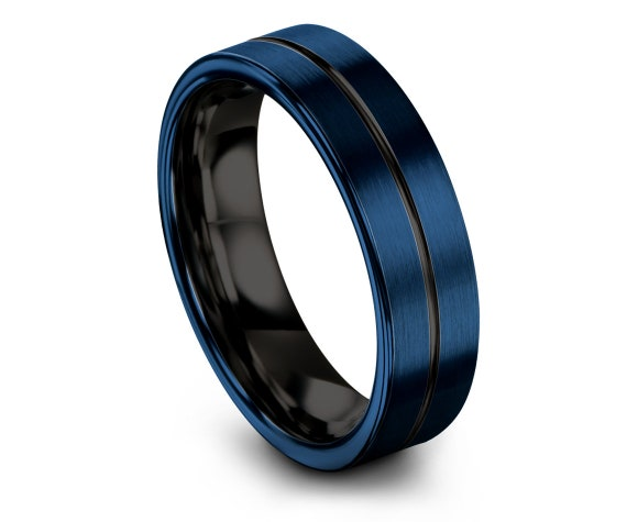 Wedding Gifts,Comfort Blue Band with Black Line Engraved Rings,His and Hers,Tungsten Wedding Band,Tungsten Wedding,Unique Band,Custom Free