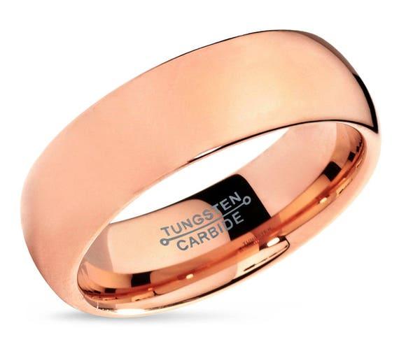 Tungsten Ring Rose Gold 7mm 18K, Mens Wedding Band, Wedding Ring, Engagement Ring, Promise Ring, Rings for Men, Rings for Women, Gold Ring