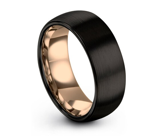 Mens Wedding Band Black, Tungsten Ring Rose Gold 18K 10mm, Wedding Ring, Engagement Ring, Promise Ring, Rings for Men, Rings for Women