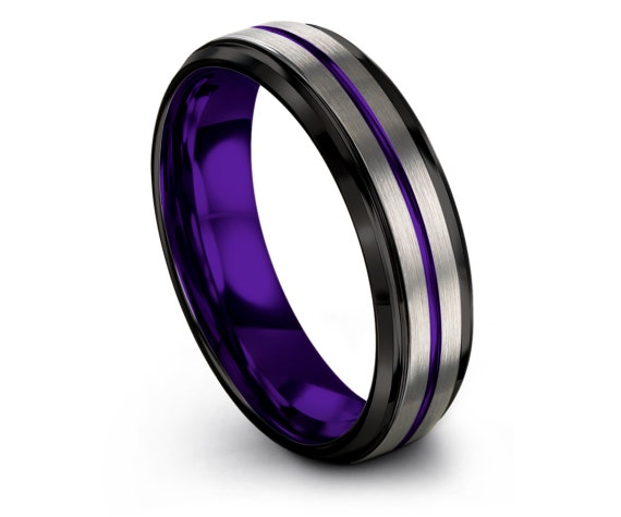 Mens Purple Ring,Center Engraving Ring,Black Tungsten Wedding Band 6mm,Silver Tungsten Wedding Ring Set,His and Hers Rings,Gift For Father's