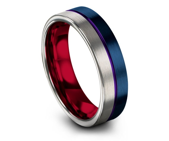 Valentines Gifts - Red Tungsten Ring - Blue Rings For Women - Blue Wedding Bands - Center Line Purple Engraving - His and Hers Rings - Gifts