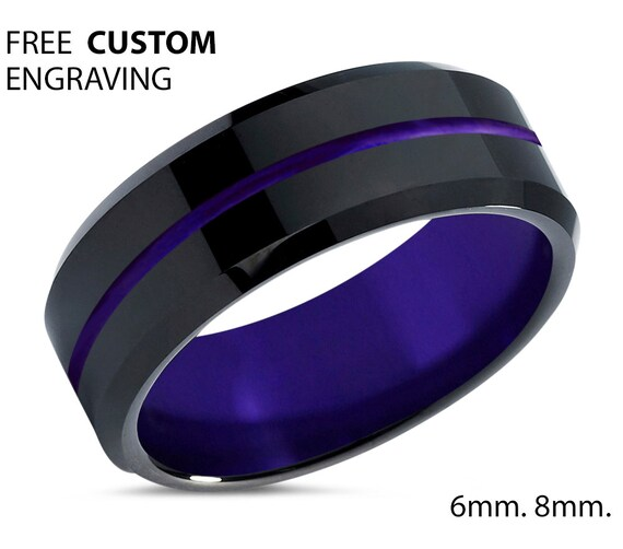 Black Tungsten Wedding Band With Purple Center Line & Interior - Promise Ring - Gifts for Her, Him - Free Personalized Engraving