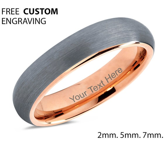 Free Engraving Rose Gold Tungsten Mens Wedding Band | Personalized Gift | Gift for Her | Gift for Him | Promise