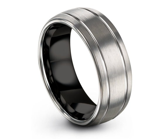 Domed Black Tungsten Ring   Silver Wedding Band   Mens Wedding Band   Double Line Engraving   Couple Matching Ring   Comfort Fit   All Size