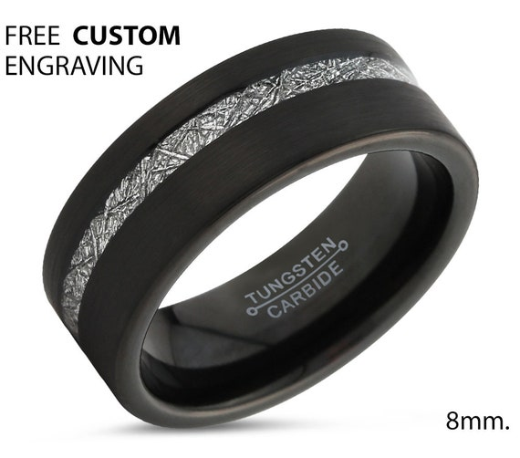 Black Meteorite 8mm Tungsten Ring for Men & Women | Unique Personalized Wedding Band | Promise Engagement Gift
