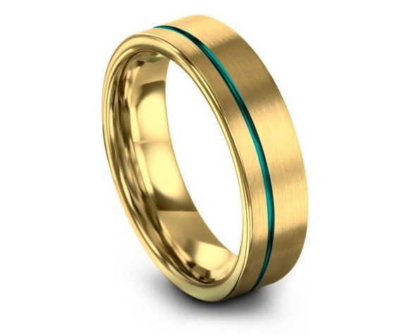 Fathers Day Gift,Mens Wedding Band Tungsten Teal,Gold Tungsten Engagement Ring,Offset Engraving Line,His and Hers,Custom Free Fast Shipping