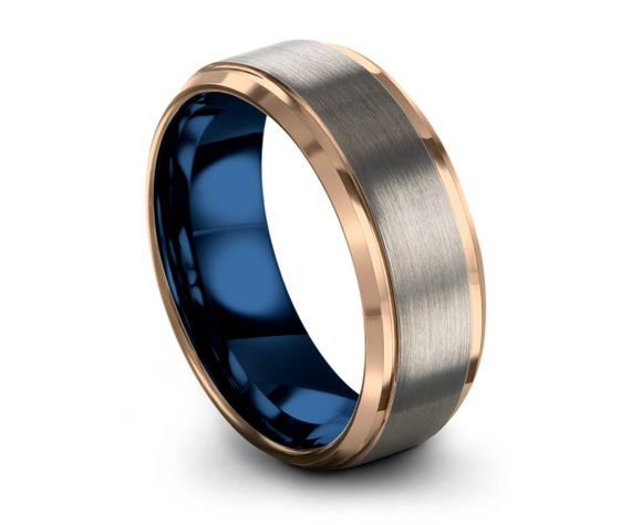 Mens Wedding Band Blue, Tungsten Ring Rose Gold 18K, Wedding Ring, Engagement Ring, Promise Ring, Personalized, Rings for Men, Silver Ring