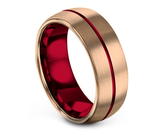 Gift For Her| Domed Tungsten Carbide Wedding Band Red| Brushed Rose Gold Wedding Ring| Tungsten Carbide 8mm| Custom Engraving| Free Shipping
