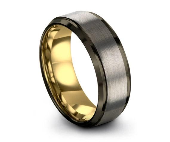 Tungsten Ring, Man Gunmetal Wedding Band,18K Rose Gold,Promise Ring,Rings for Men, for Women,Mens, Male, Engagement, Personalized Gift, Grey