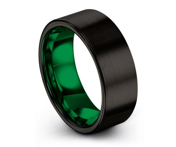 Tungsten Ring Mens Black Green Wedding Band Tungsten Ring Tungsten Carbide 8mm Tungsten Man Wedding Male Women Anniversary Matching Size