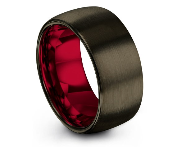 Domed Engagement Ring Set | Red Tungsten Wedding Band | Gunmetal Jewellery Ring | Rings for Men | Couple Promise Ring | Anniversary Gifts