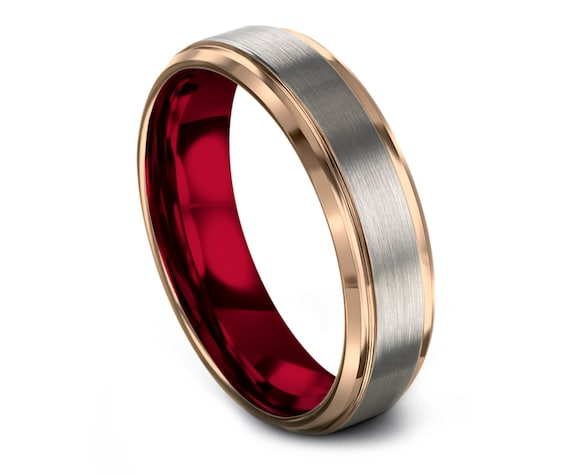 Tungsten Carbide Ring Men Silver | Red Tungsten Band For Men | Rose Gold Wedding Band | His and Hers | Wedding Gifts | Ring Size 4-15