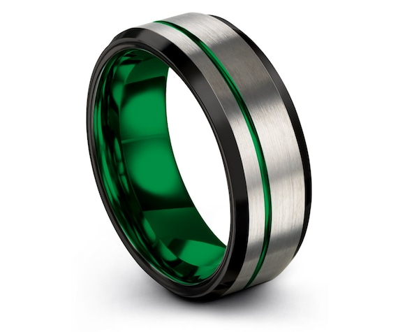 Mens Wedding Ring Silver,8mm,Black Tungsten Wedding Band,Offset Engraving Green,Silver Engagement Ring, Personalized Gift,Gifts for Him