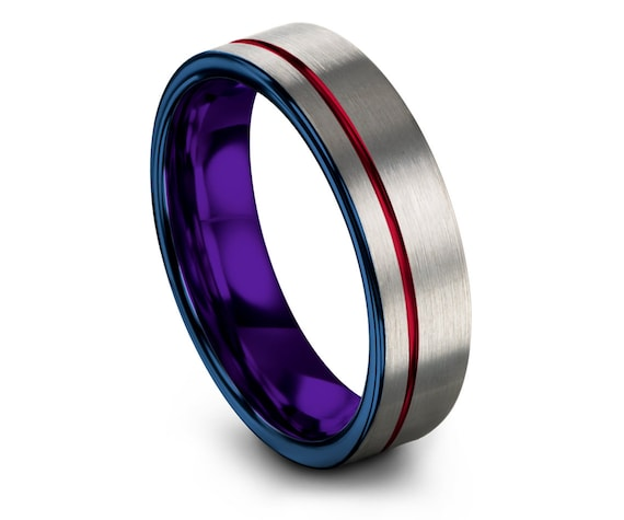 Luxury Rings,Mens Silver Ring,Promise Ring,Blue Tungsten Ring 6mm,Offset Line Engraving Red,Inside Purple Ring,Custom Ring,Gifts For Her,6mm
