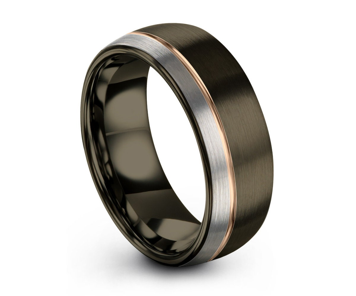 Gunmetal Mens Wedding Band Rose Gold Black Wedding Ring Tungsten Carbide 8mm 18k Engagement Ring Promise Ring Mens Ring Gifts For Him