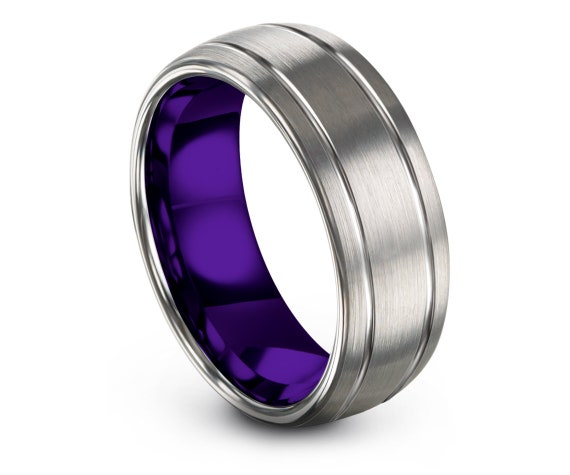 Mens Purple Rings,Domed Silver  Wedding Band,8mm, Double Engraved Line,Grey Tungsten Ring For Womens,Band For Her,Women Rings,Matching Ring
