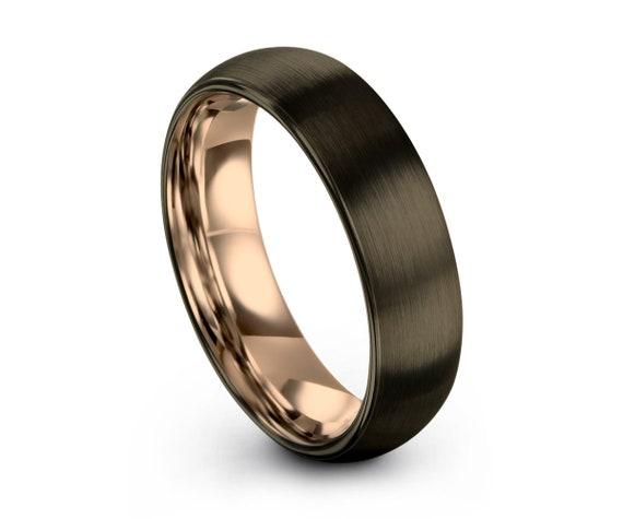 GUNMETAL Tungsten Ring Rose Gold Black Wedding Band Ring Tungsten Carbide 6mm 18K Ring Man Wedding Band Male Women Anniversary Matching