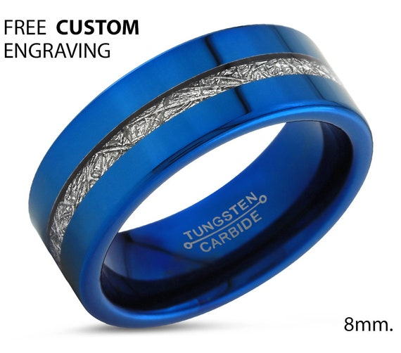 Meteorite Blue Mens Wedding Band | Tungsten Carbide Ring 8mm available | His or Her with Fast Free Shipping