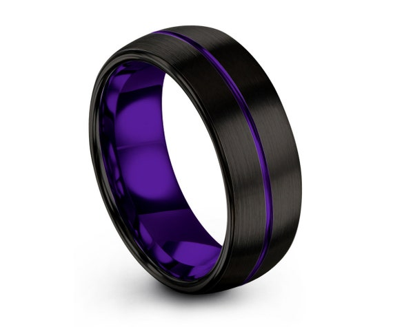 Tungsten Ring Purple, Mens Wedding Band Black 8mm, Wedding Ring, Engagement Ring, Promise Ring, Personalized, Rings for Men, Rings for Women