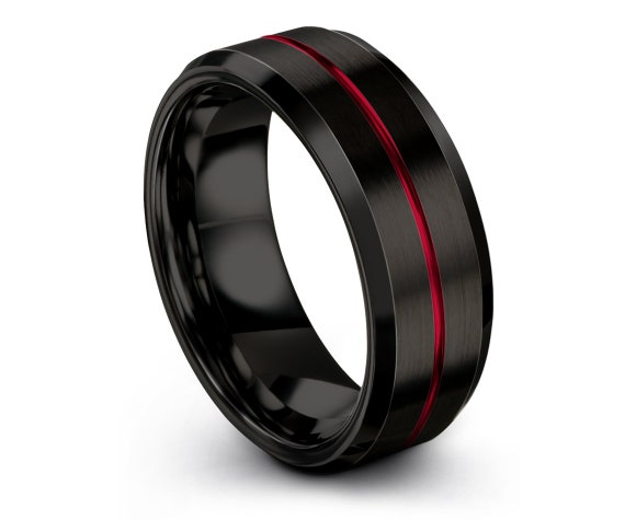 Mens Tungsten Wedding Band Black - Tungsten Carbide 8mm Ring - Center Red Engraving Ring - Fathers Day Gift - Custom Ring - Promise Ring