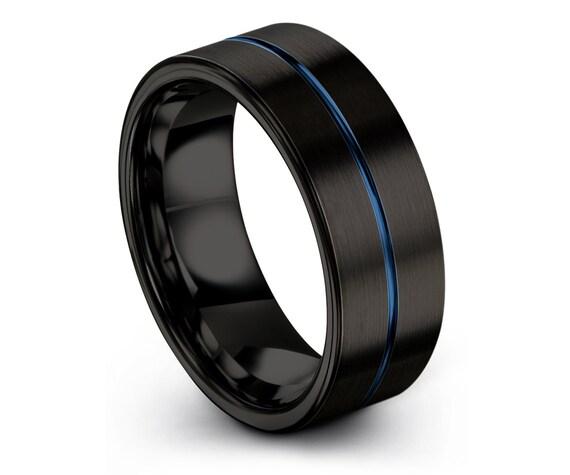 Brushed Black Mens Wedding Band, Comfort Tungsten Carbide Ring, Tungsten Ring Set, 8mm Ring, Engraved Ring Blue, Fast Free Shipping