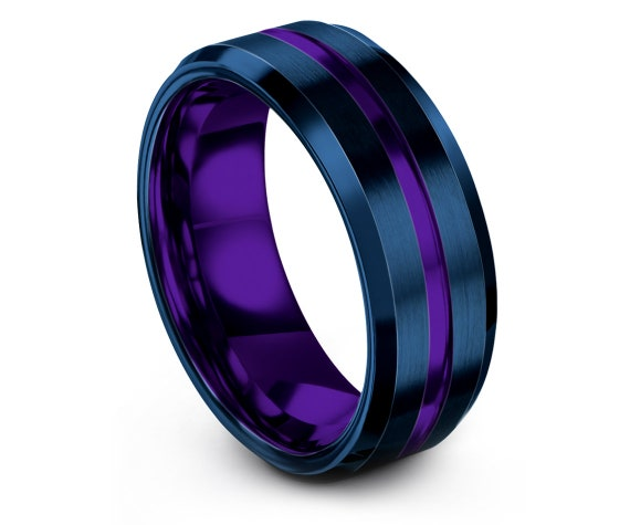 Personalized Jewelry Rings,8mm,Blue Tungsten Wedding Band,Purple Wedding Ring,Center Engraving,Rings for Men,Promise Ring,Gifts For Him