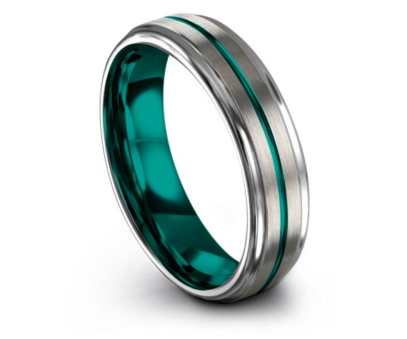 Mens Wedding Band Silver, 4mm 6mm 8mm 10mm, Teal Tungsten Ring, Center Thin Line Engraving, Personalized, Ring Infinity, Sister Ring, Gifts