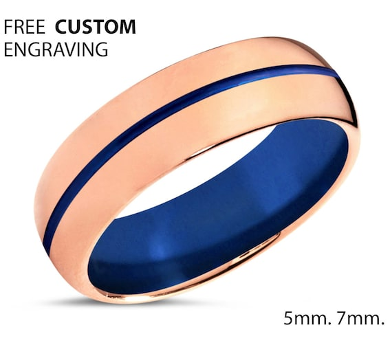 18K Rose Gold Mens Wedding Band With Blue Center Line - Personalized Tungsten Ring for Men & Women - Comfort Fit - Gift Idea
