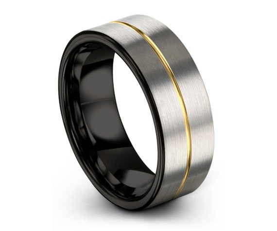 Silver Brushed 18k Yellow Gold Center Line with Black Interior Unisex Tungsten Wedding Band, Wedding Ring, Engagement, Promise, Personalized