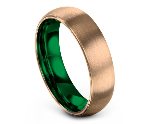 Domed Rose Gold Tungsten Ring | Tungsten Wedding Band | Rose Gold Brushed Band | Green Tungsten Ring | Promise Ring | Free Shipping