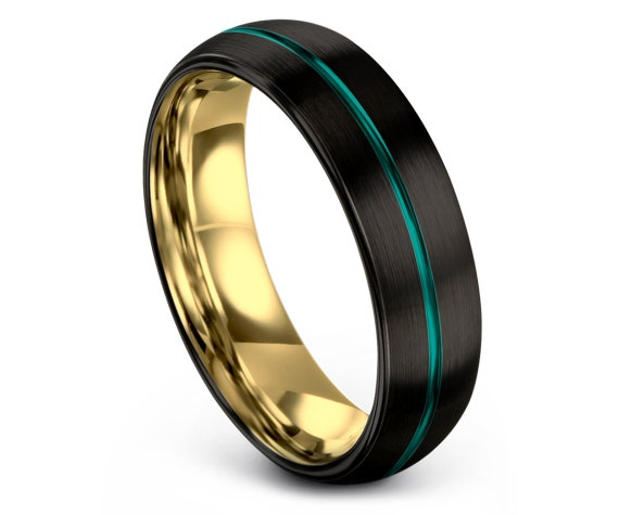 Tungsten Wedding Band Women | Domed Teal Tungsten Carbide Ring 8mm | Thin Center Line Band | Free Engraving | Black And Gold | Gift for Men