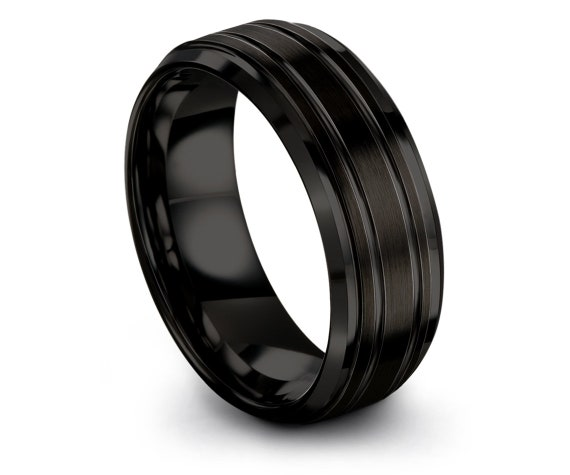 8mm Tungsten Ring, Mens Wedding Band Black, His and Hers, Double Line Engraving,Mens Gift,Anniversary Gifts,Free Shipping,All Size 4-15