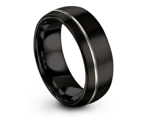 Matching Wedding Band Black   Tungsten Wedding Band Ring   Offset Engraved Ring   Silver Men Ring   Fathers Day Gift   Tungsten Carbide 8mm