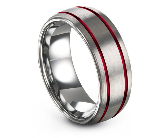 Wedding Band Tungsten Silver Ring 8mm,Double Red Line Engraving Ring,Wedding Ring Set,Daddy's Gift,Engagement Ring Set,Personalized Gifts